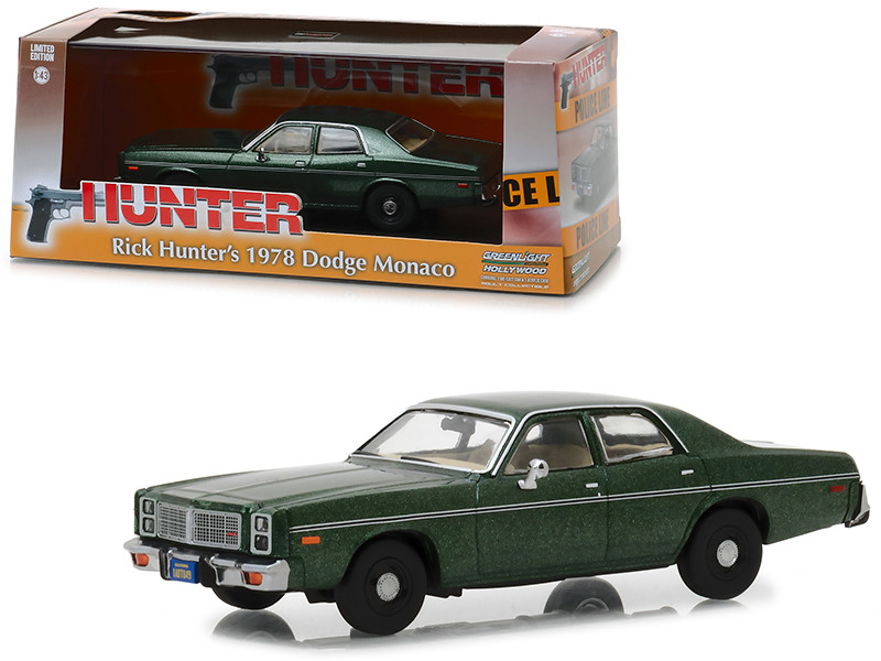 1978 Dodge Monaco Rick Hunter's Green Hunter 1984 1991 TV Series 1/43 Diecast Model Car Greenlight 86537