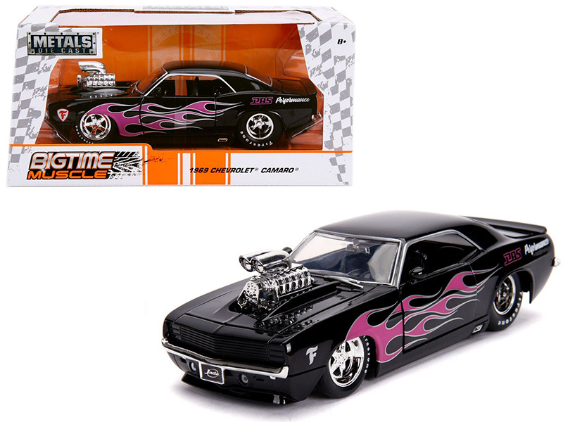 1969 Chevrolet Camaro Blower Black Pink Flames Bigtime Muscle Series 1/24 Diecast Model Car Jada 30707