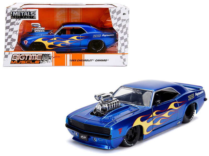 1969 Chevrolet Camaro Blower Candy Blue Yellow Flames Bigtime Muscle Series 1/24 Diecast Model Car Jada 30708
