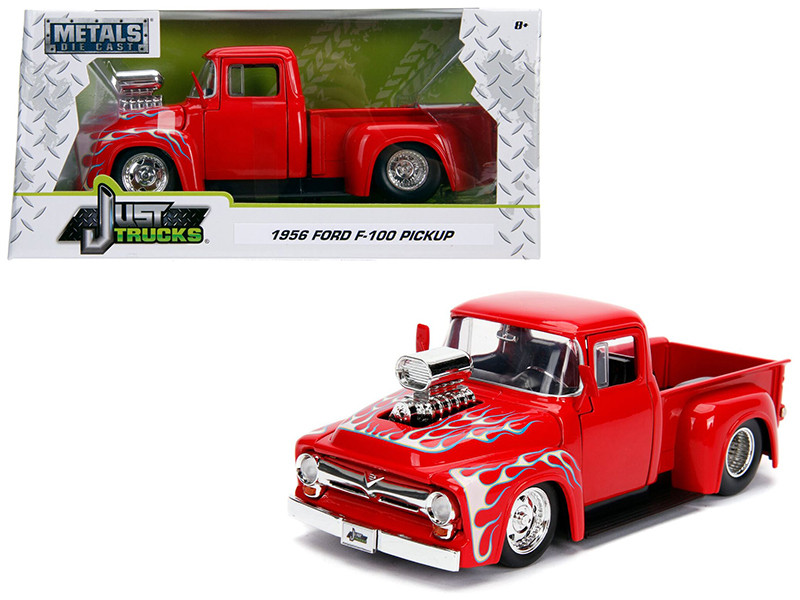 1956 Ford F-100 Pickup Truck Blower Glossy Red Flames Just Trucks Series 1/24 Diecast Model Car Jada 30715