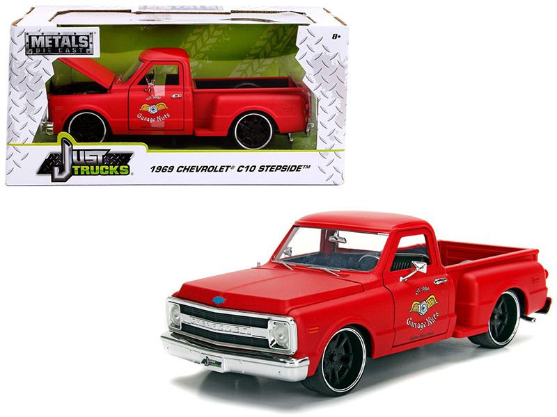 1969 Chevrolet C10 Stepside Pickup Truck Matt Red Garage Nuts Just Trucks Series 1/24 Diecast Model Car Jada 99322