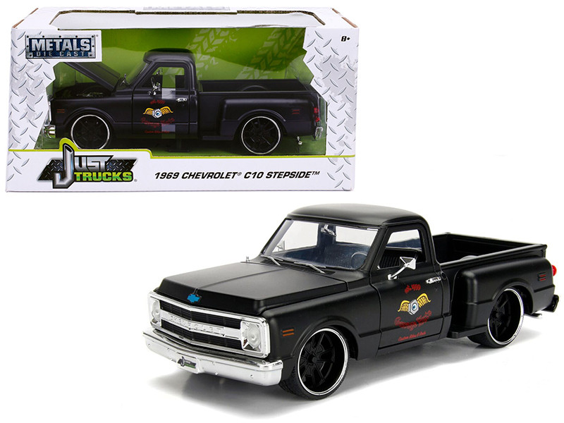 1969 Chevrolet C10 Stepside Pickup Truck Matt Black Garage Nuts Just Trucks Series 1/24 Diecast Model Car Jada 99397