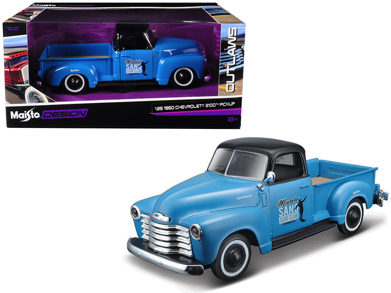 1950 Chevrolet 3100 Pickup Truck Blue Black Top Madero Sano Surf Club Outlaws 1/25 Diecast Model Car Maisto 32506