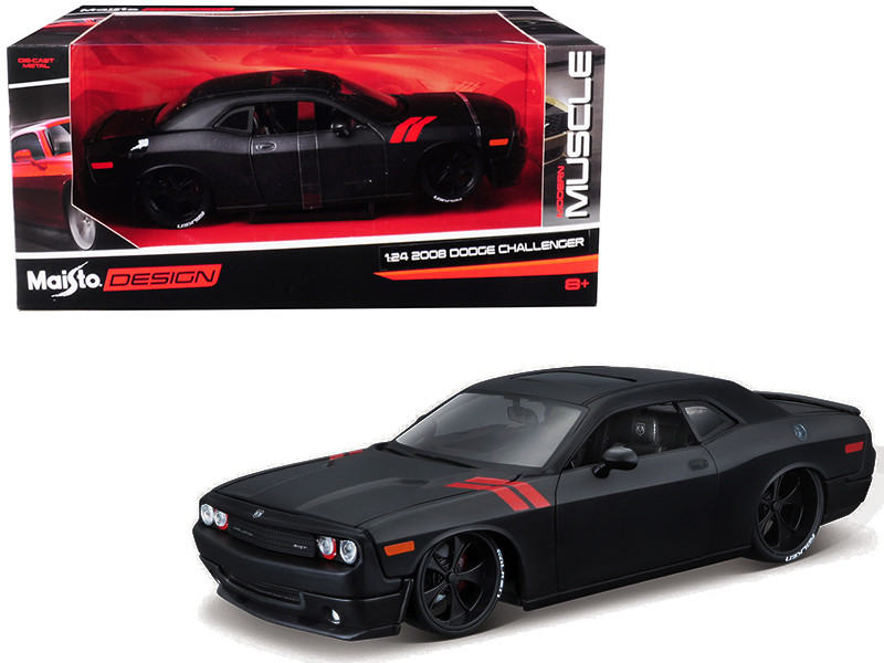 2008 Dodge Challenger Matt Black Modern Muscle 1/24 Diecast Model Car Maisto 32529