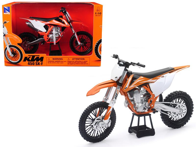 KTM 450 SX-F Dirt Bike Orange White Motorcycle Model 1/10 New Ray 57943