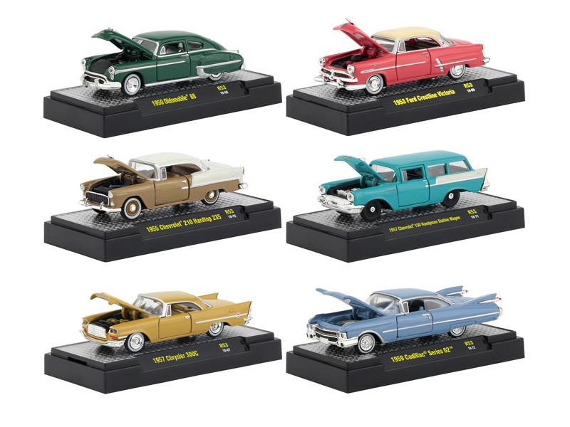 Auto Thentics 6 Piece Set Release 53 DISPLAY CASES 1/64 Diecast Model Cars M2 Machines 32500-53