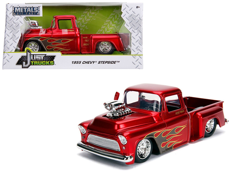 1955 Chevrolet Stepside Pickup Truck Blower Candy Red Flames Just Trucks Series 1/24 Diecast Model Car Jada 30713