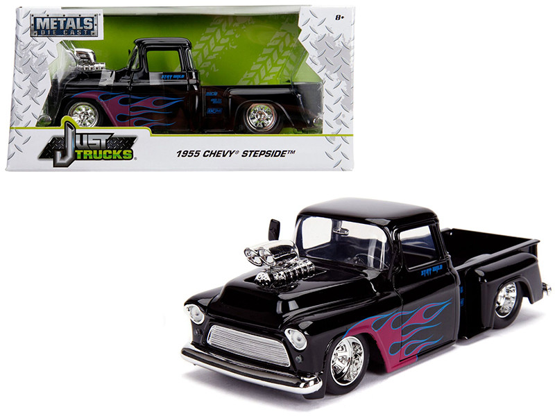 1955 Chevrolet Stepside Pickup Truck Blower Glossy Black Flames Just Trucks Series 1/24 Diecast Model Car Jada 30714