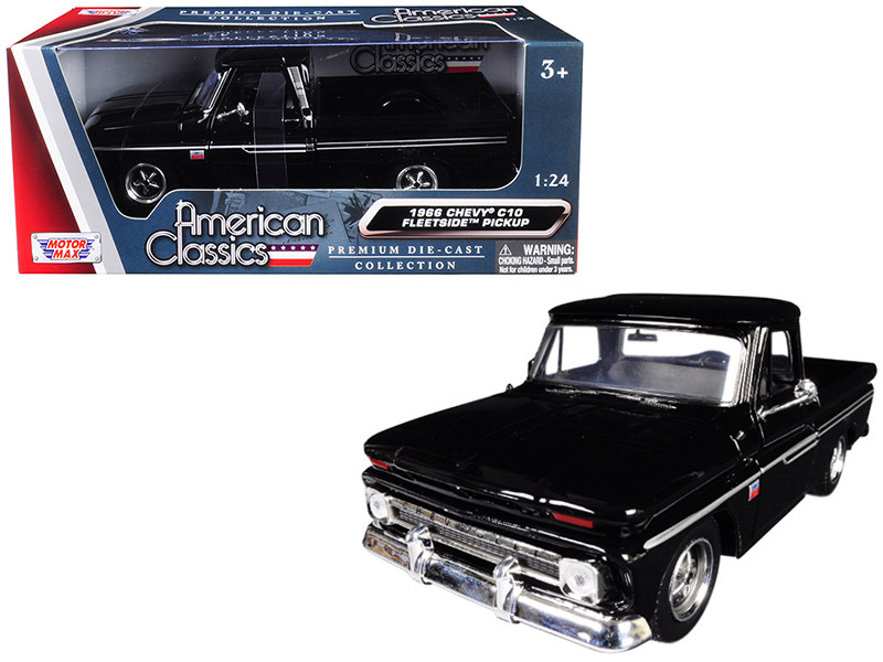 1966 Chevrolet C10 Fleetside Pickup Truck Black 1/24 Diecast Model Car Motormax 73355