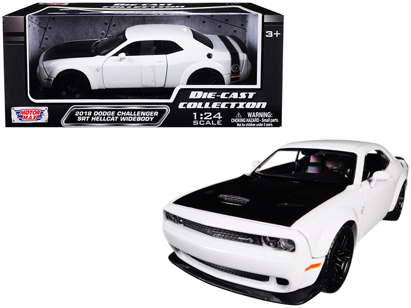 2018 Dodge Challenger SRT Hellcat Widebody White Black Hood 1/24 Diecast Model Car Motormax 79350