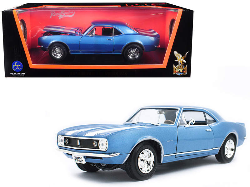 1967 Chevrolet Camaro Z/28 Metallic Blue White Stripes 1/18 Diecast Model Car Road Signature 92188