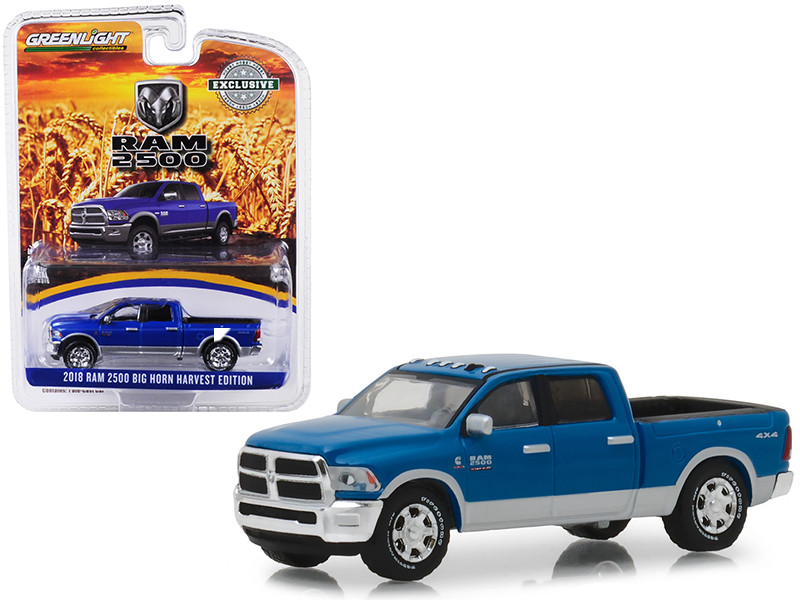 2018 Dodge Ram 2500 Big Horn Pickup Truck New Holland Blue Harvest Edition Hobby Exclusive 1/64 Diecast Model Car Greenlight 29973