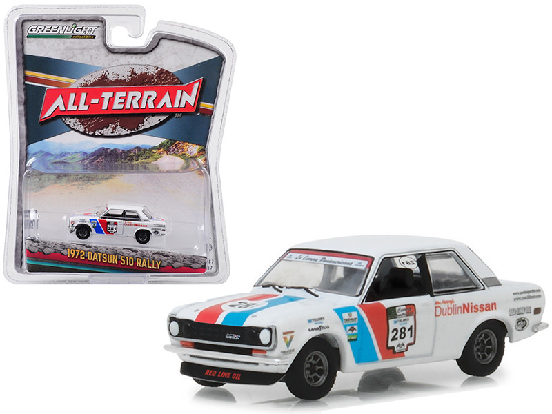 1972 Datsun 510 Rally #281 Dublin Nissan La Carrera Panamericana All Terrain Series 7 1/64 Diecast Model Car Greenlight 35110 A