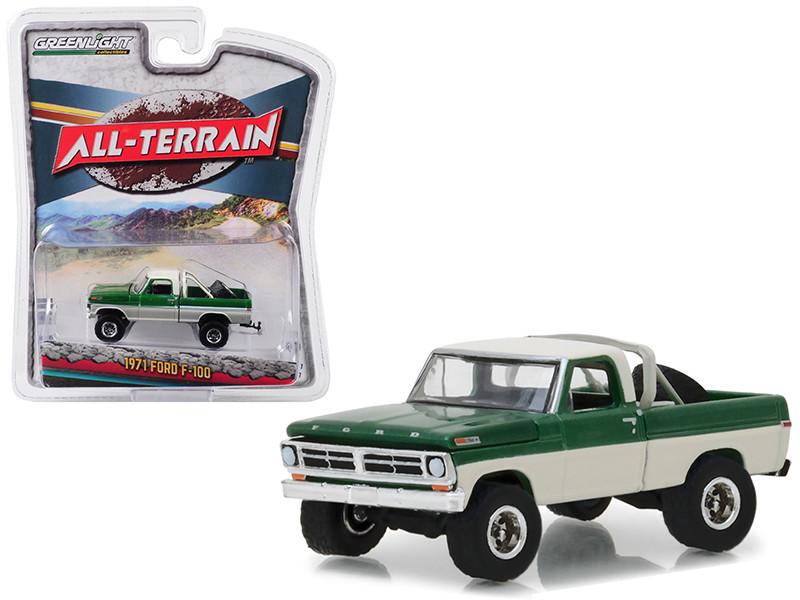 1971 Ford F-100 Pickup Truck Tire Carrier Green Cream All Terrain Series 7 1/64 Diecast Model Car Greenlight 35110 B
