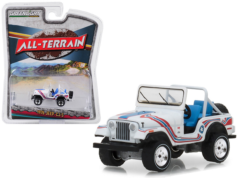 1976 Jeep CJ-5 Bicentennial Edition White Stripes All Terrain Series 7 1/64 Diecast Model Car Greenlight 35110 C