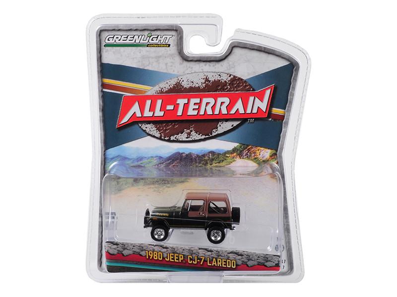 1980 Jeep CJ-7 Laredo Metallic Green Brown Top All Terrain Series 7 1/64 Diecast Model Car Greenlight 35110 D