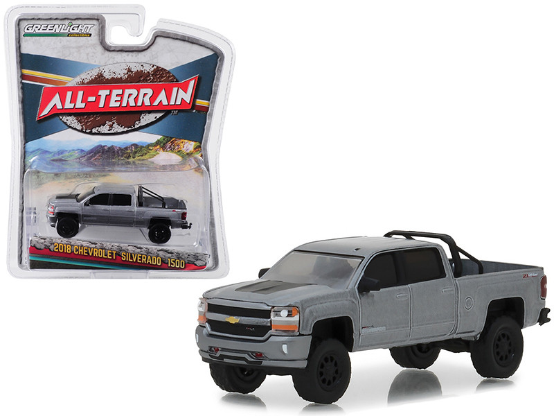 2018 Chevrolet Silverado 1500 Supercharged ZL Off-Road Pickup Truck Gray All Terrain Series 7 1/64 Diecast Model Car Greenlight 35110 F