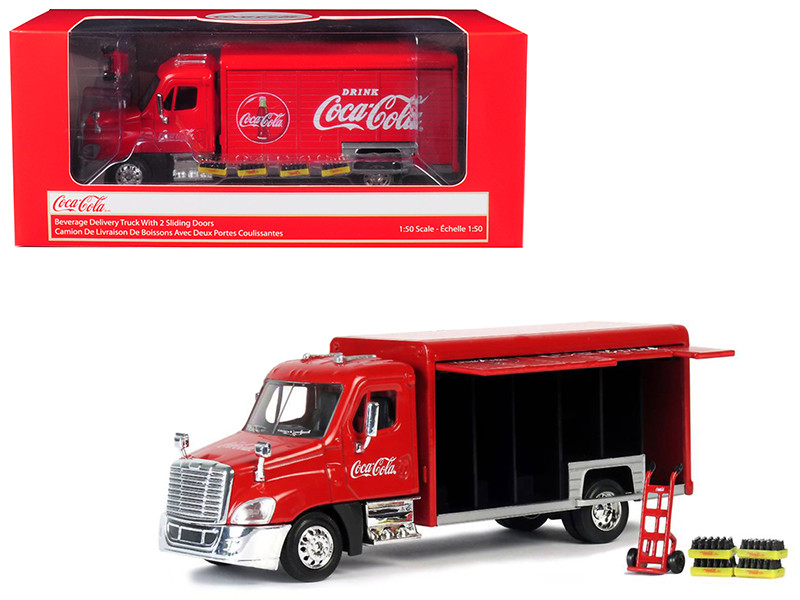 Beverage Delivery Truck Coca Cola Handcart 4 Bottle Cases 1/50 Diecast Model Motorcity Classics 450060