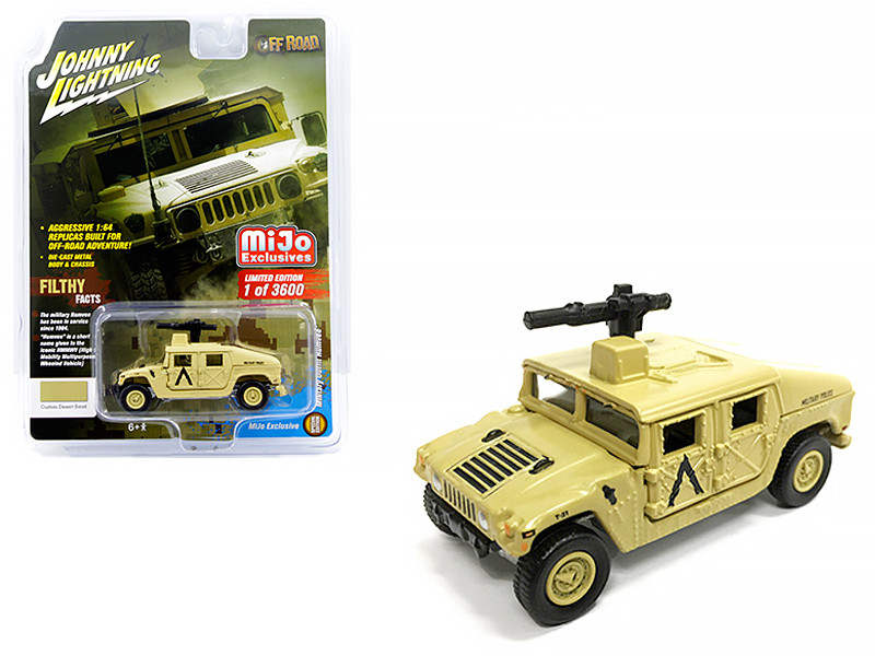 Humvee Military Outfit Roof Gun Military Police Sand Off Road Series Limited Edition 3600 pieces Worldwide 1/64 Diecast Model Car Johnny Lightning JLCP7158