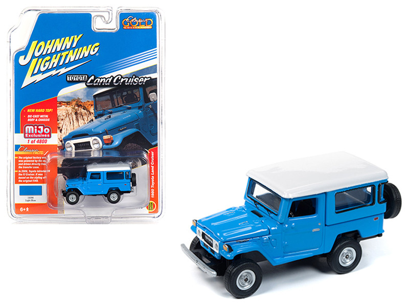 1980 Toyota Land Cruiser Light Blue White Top Limited Edition 4800 pieces Worldwide 1/64 Diecast Model Car Johnny Lightning JLCP7161
