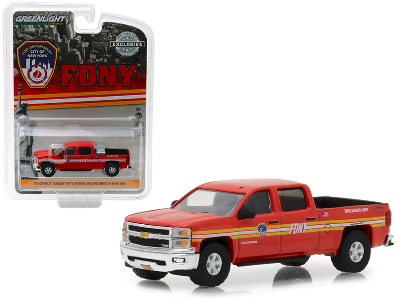 2015 Chevrolet Silverado 4x4 Pickup Truck FDNY Official Fire Department City New York Hobby Exclusive 1/64 Diecast Model Car Greenlight 30009