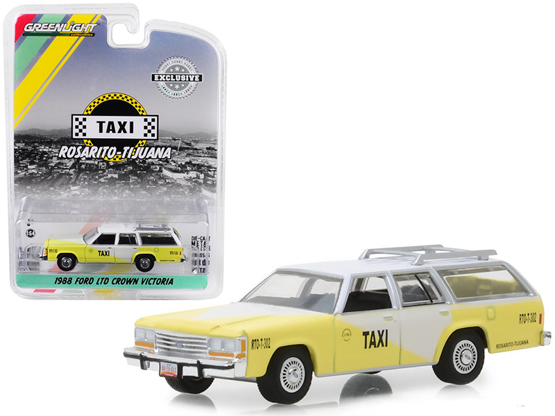 1988 Ford LTD Crown Victoria Wagon Roof Rack Rosarito Tijuana Taxi Yellow White Hobby Exclusive 1/64 Diecast Model Car Greenlight 30002