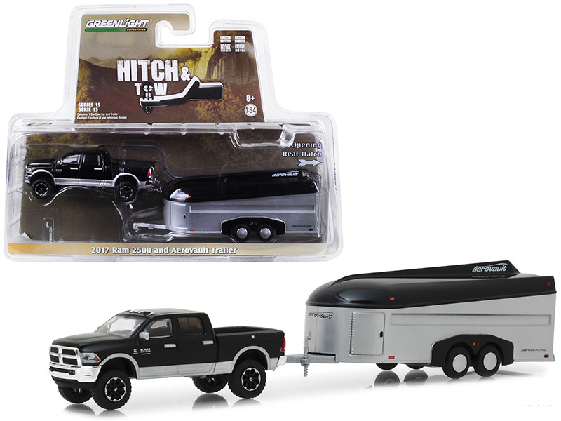 2017 Dodge Ram 2500 4x4 Pickup Truck Black Silver Aerovault Trailer Hitch Tow Series 15 1/64 Diecast Models Greenlight 32150 B