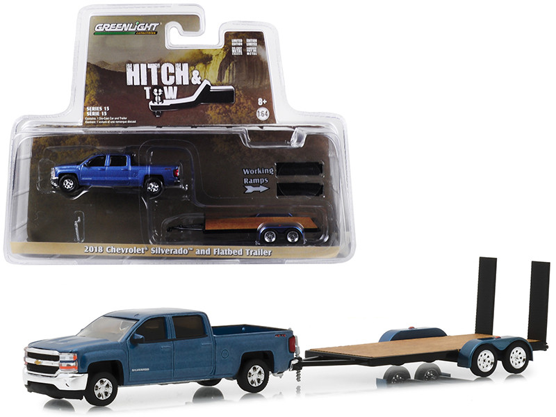 2018 Chevrolet Silverado 4x4 Pickup Truck Blue Flatbed Trailer Hitch Tow Series 15 1/64 Diecast Models Greenlight 32150 C