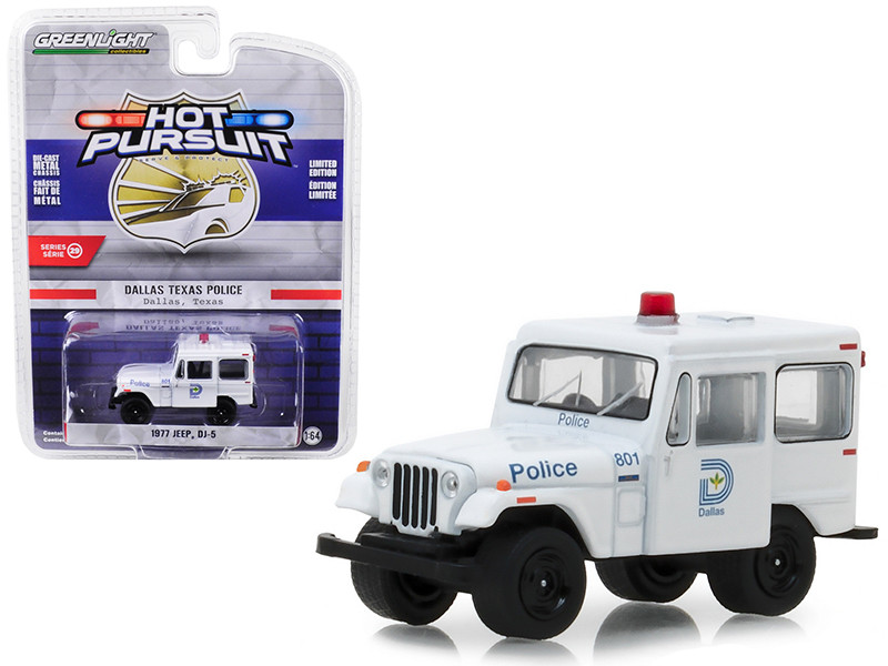 1977 Jeep DJ-5 Dallas Texas Police Hot Pursuit Series 29 1/64 Diecast Model Car Greenlight 42860 B