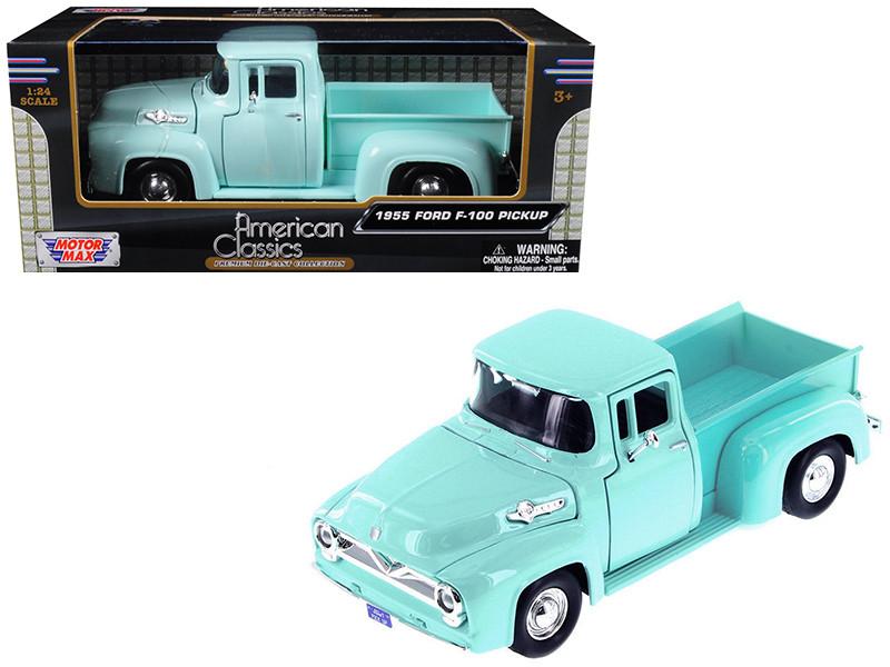1955 Ford F-100 Pickup Truck Light Green 1/24 Diecast Model Car Motormax 79341