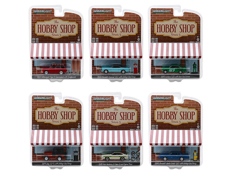 The Hobby Shop Series 5 Set 6 Cars 1/64 Diecast Models Greenlight 97050