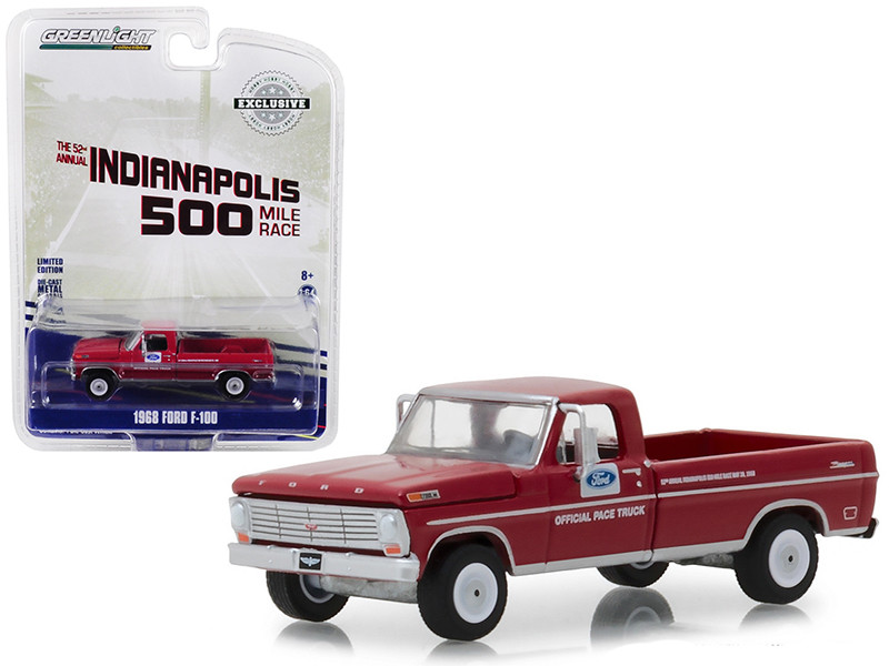 1968 Ford F-100 Pickup Truck Long Bed Red 52nd Annual Indianapolis 500 Mile Race Official Truck Hobby Exclusive 1/64 Diecast Model Car Greenlight 29978