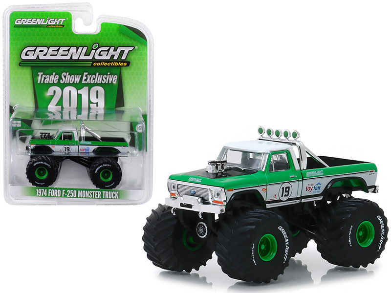 1974 Ford F-250 Monster Truck #19 GreenLight Racing Team 2019 GreenLight Trade Show Exclusive 1/64 Diecast Model Car Greenlight 30006