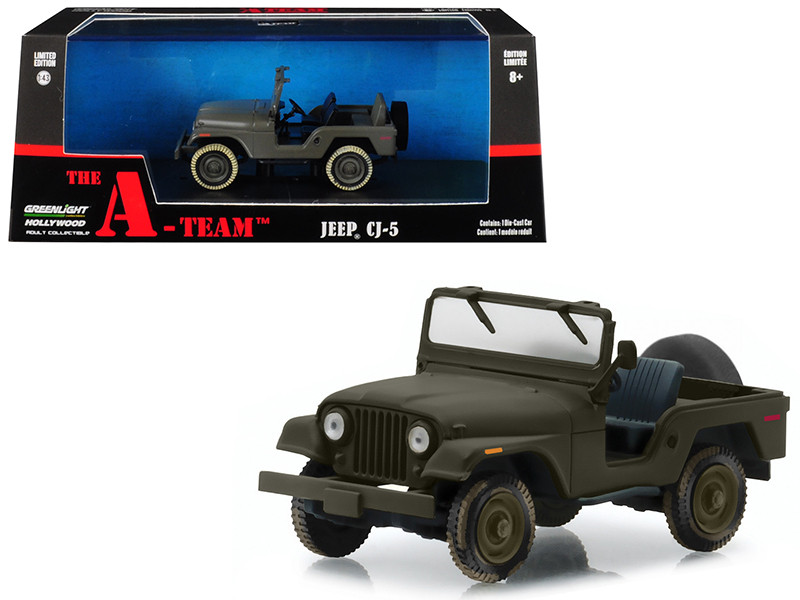 Jeep CJ-5 Army Green The A-Team 1983 1987 TV Series 1/43 Diecast Model Car Greenlight 86526