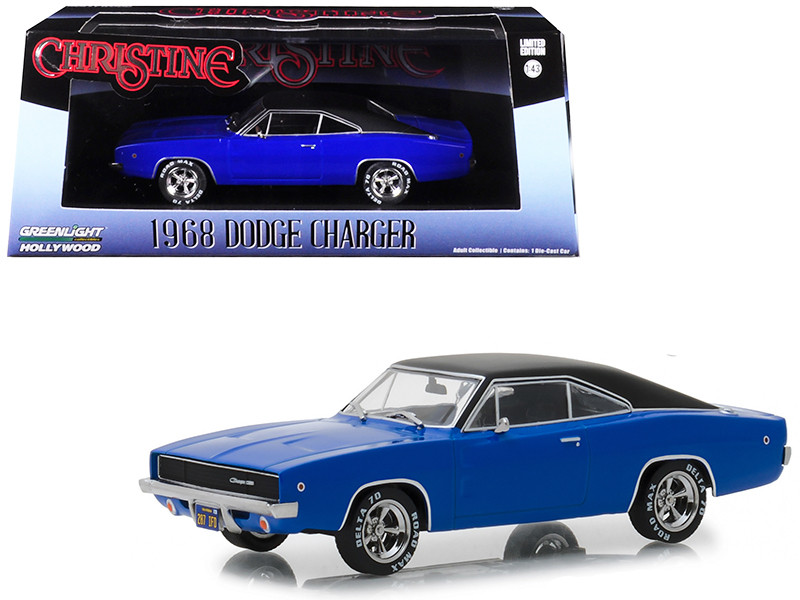 1968 Dodge Charger Dennis Guilder's Blue Black Top Christine 1983 Movie 1/43 Diecast Model Car Greenlight 86531