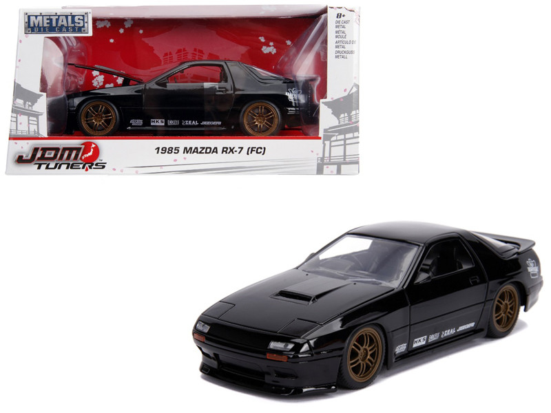 1985 Mazda RX-7 FC Black Gold Wheels JDM Tuners 1/24 Diecast Model Car Jada 30425