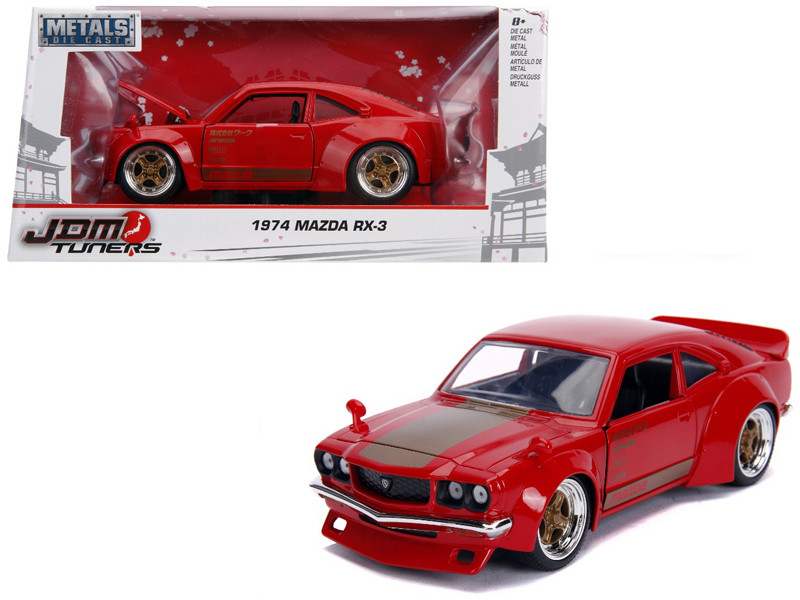 1974 Mazda RX-3 Red Gold Stripe JDM Tuners 1/24 Diecast Model Car Jada 30718