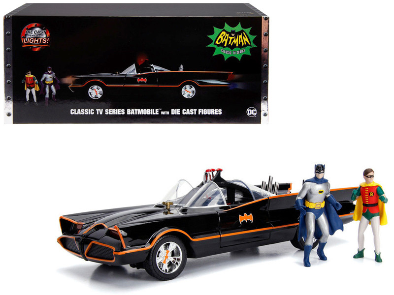 Classic TV Series Batmobile with Working Lights, and Diecast Batman and Robin Figures \80 Years of Batman\