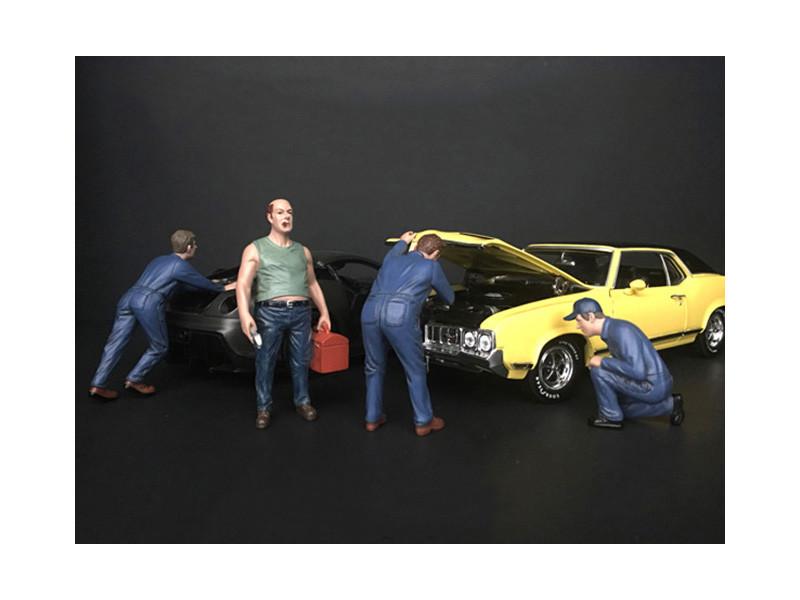 Mechanic Classic 4 Piece Figurine Set 1/24 Scale Models American Diorama 38277 38278 38279 38280