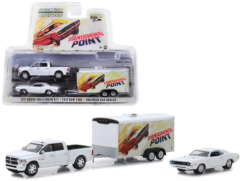 2018 Dodge Ram 2500 Pickup Truck 1970 Dodge Challenger R/T Enclosed Car Hauler Vanishing Point 1971 Movie Hollywood Hitch Tow Series 6 1/64 Diecast Model Greenlight 31070 B