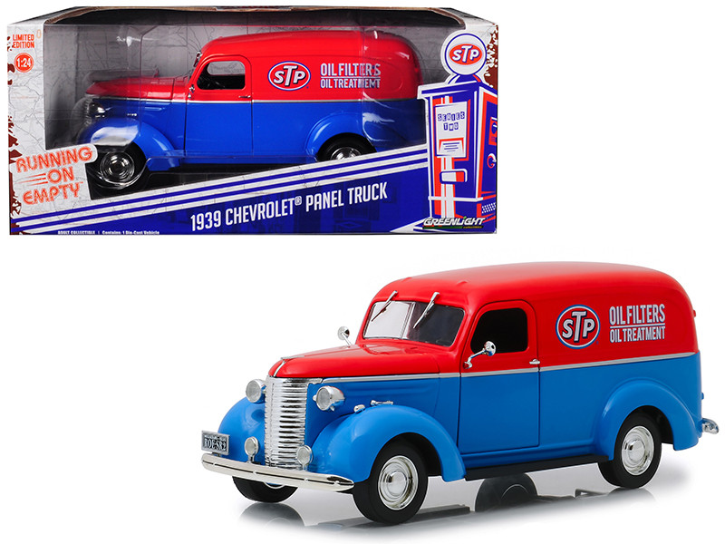 1939 Chevrolet Panel Truck STP Blue Red Top Running on Empty Series 1/24 Diecast Model Car Greenlight 85022