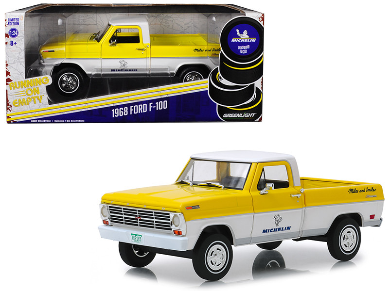 1968 Ford F-100 Pickup Truck Michelin Yellow White Running on Empty Series 1/24 Diecast Model Car Greenlight 85023