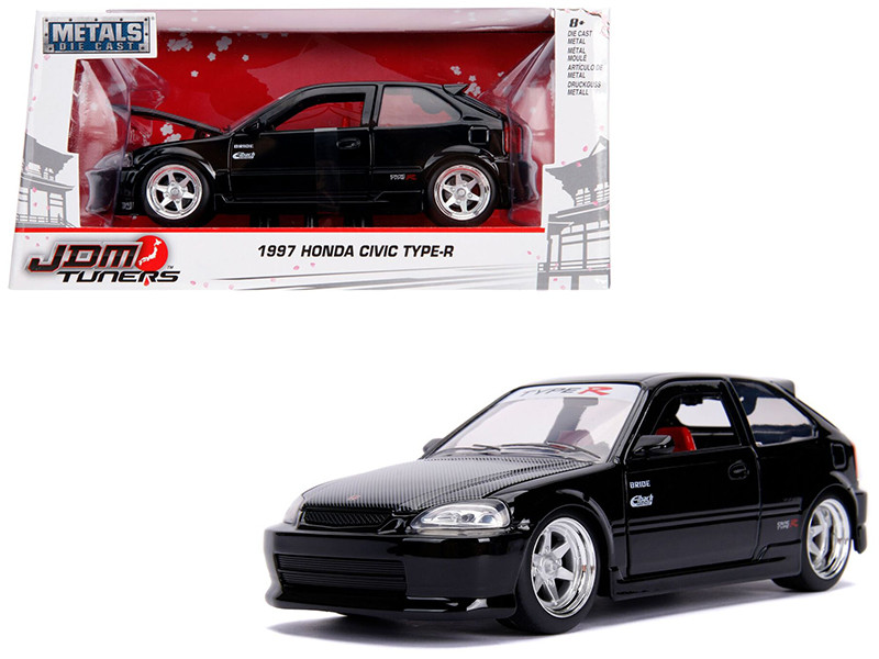 1997 Honda Civic Type R Glossy Black Carbon Hood JDM Tuners 1/24 Diecast Model Car Jada 30719