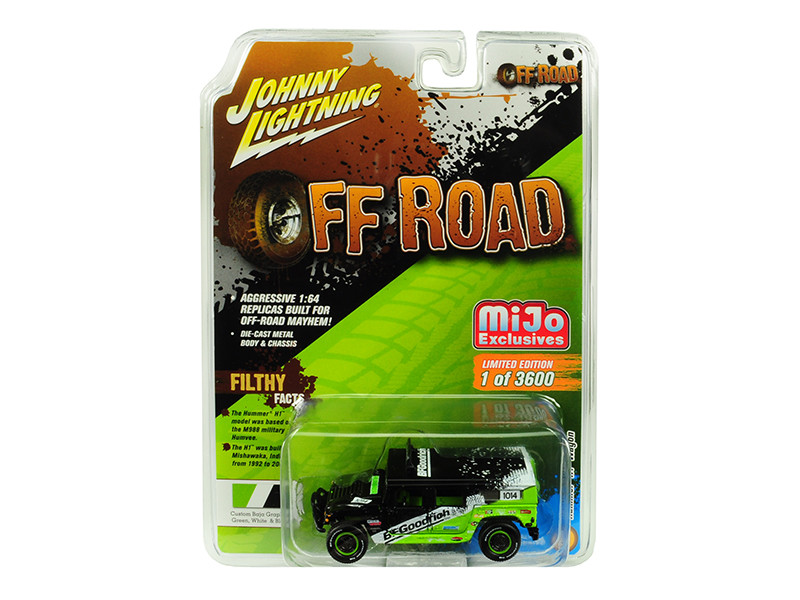 Hummer H1 Wagon #1014 Black Green BFGoodrich Off Road Limited Edition 3600 pieces Worldwide 1/64 Diecast Model Car Johnny Lightning JLCP7155