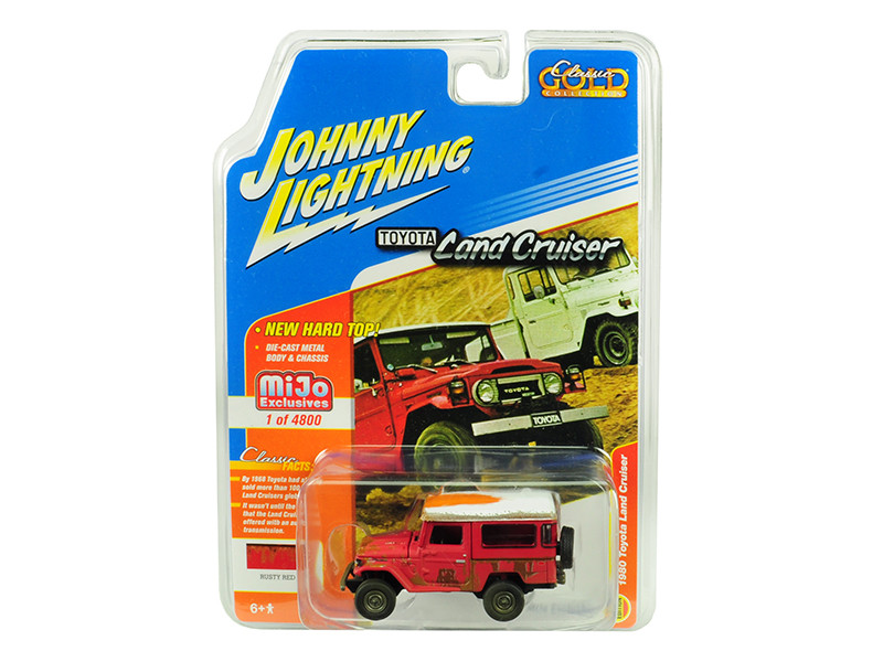 1980 Toyota Land Cruiser Rusty Red White Top Limited Edition 4800 pieces Worldwide 1/64 Diecast Model Car Johnny Lightning JLCP7162