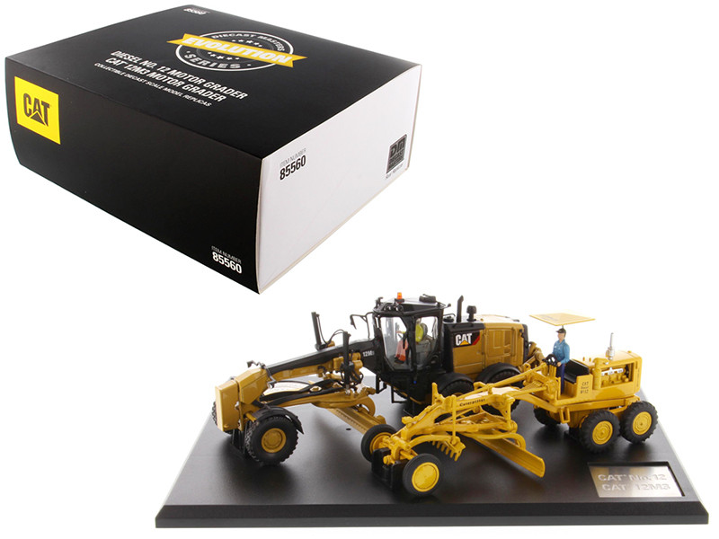 Cat Caterpillar No 12 Motor Grader Circa 1939-1959 Cat Caterpillar 12M3 Motor Grader Current Operators Evolution Series Set 2 pieces 1/50 Diecast Models Diecast Masters 85560