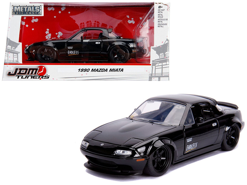 1990 Mazda Miata Endless Glossy Black JDM Tuners 1/24 Diecast Model Car Jada 30936