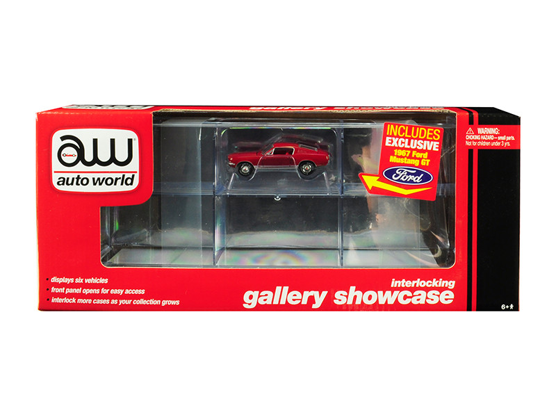 6 Car Interlocking Acrylic Display Show Case 1967 Ford Mustang GT Red 1/64 Scale Model Cars Autoworld AWDC018