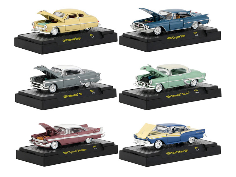 Auto Thentics 6 Cars Set Release 51 DISPLAY CASES 1/64 Diecast Model Cars M2 Machines 32500-51
