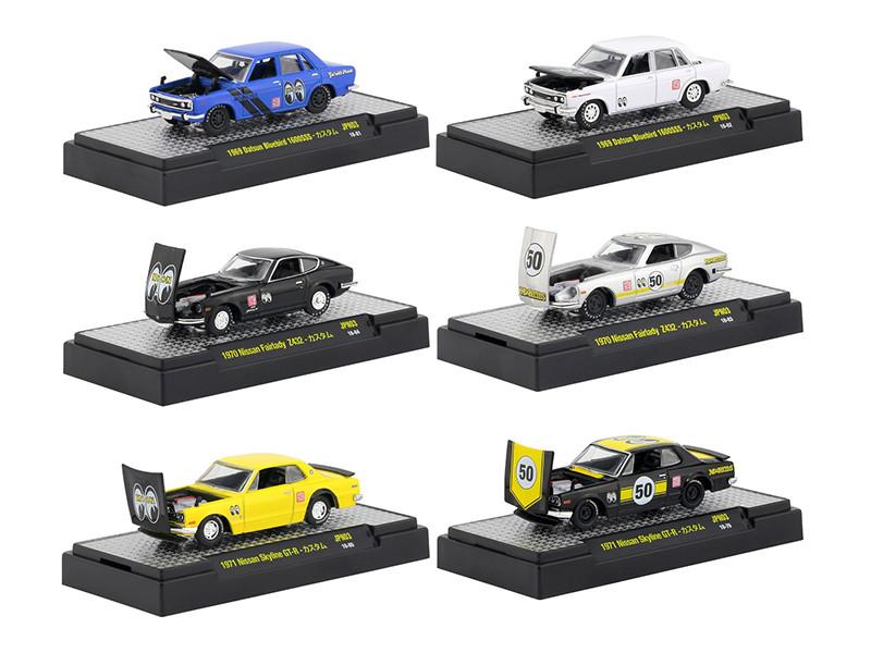Auto Thentics Mooneyes 6 pc Set DISPLAY CASES 1/64 Diecast Model Cars M2 Machines 32500-MOON03